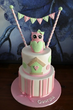Little Pink & Green Owl Cake