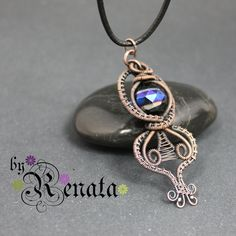 Unique wire wrapping wire weaving pendant with by MadeByRenata