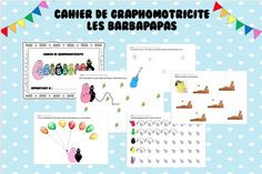 Les Barbapapas - cahier graphomotricité maitresseschmilly Map, Words, Cursive, Plans, Book, Kindergarten Classroom, Road Trip Games, Fun Learning, Pictures
