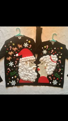 Santa and Mrs Claus Kissing Couples Ugly Christmas Sweater DIY Homemade DIY Sweater, Couples Christmas Sweaters, Homemade Ugly Christmas Sweater, Couple Christmas, Tacky Christmas Sweater, Christmas Fun, Homemade Christmas, Navidad Diy, Christmas Costumes, Christmas Outfits