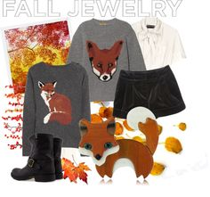"""fox brooch"" by jennifer ❤ liked on Polyvore"