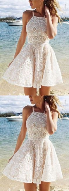 A-line Homecoming Dresses, White A-line/Princess Homecoming Dresses, A line Short Homecoming Dresses, Cute A-line White Halter Short Straps Lace Homecoming/Prom Dresses M1635#promdress #promdresses #shortpromdress#homecomingdress #2018newprom #newsyele #2018newfashion #meetbeauty#partydress#aline #white #lace #cute #halter #