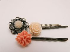 Set of 3 Cabochon Flower Hairpins - Pinks $11