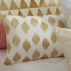 Ink + Ivy Nadia Dot Embroidered Cotton Throw Pillow | AllModern
