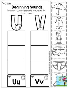 Beginning Sounds- Cut and paste the pictures to the ...