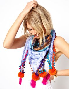 Tie dye pom pom scarf, drape over a headboard or back of a sofa for a quick change!