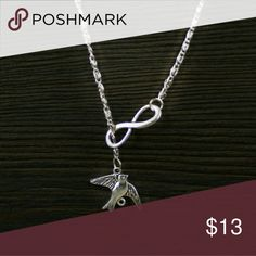 """Silvertone Bird of Peace Infinity Necklace Zinc Alloy  Chain: 18"""" Jewelry Necklaces"""
