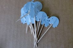Baby Blue Boy Elephant Cupcake Topper Party Pick. $3.50, via Etsy.