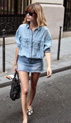 Great way to wear Denim Shirt !!!