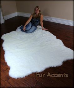 Fur Accents Large Faux Fleece Area Rug Fake Flokati Random Shape Sheepskin White