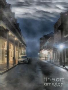 """""""Rue Brumeuse"""" ~ © 2016 RC deWinter A view of a peaceful foggy night in downtown New Orleans. Available in a variety of media, sizes and configurations. Downtown New Orleans, Image Please, Beautiful Artwork, American Artists, Fine Art America, Art Work, Photo Art, Original Artwork, Cool Art"""