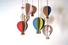 This is gorgeous - perfect for A's room  Boys 3D 'Colourful Aeroplane Paper' Hot Air Balloon Mobile. $65.00, via Etsy.