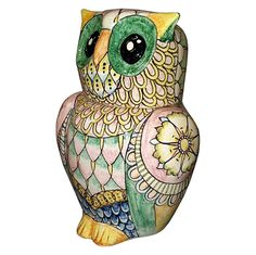 """CERAMICHE D'ARTE PARRINI - Italian Ceramic Art Pottery Big Owl Cookies Jar Animals Hand Painted Decorated Deruta Made in ITALY Tuscan. Ceramic Jar Big Owl for cookies or any use -- Tuscan Decoration: Geometric decoration. - Net weight Kg.1,300 , Dimensions (10,62 Inch) x (6,69 Inch)-- Buy directly from the producer of Tuscan craft & so you can buy right away or you can any other customization. Hand painted by """"Ceramiche d'arte Parrini, since 1979 .( with certificate of authenticity signed )."""