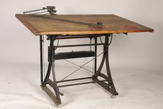 reference for Woodworking — jeroenapers: De ouderwetse tekentafel, in alle. Drafting Desk, Drafting Tables, Cast Iron, Art Tables, Objects, Dieselpunk, Woodworking Ideas, Room, Weird