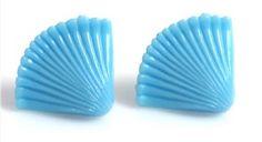 Blue Fan Retro Post Earrings by TashaHussey on Etsy, $23.00