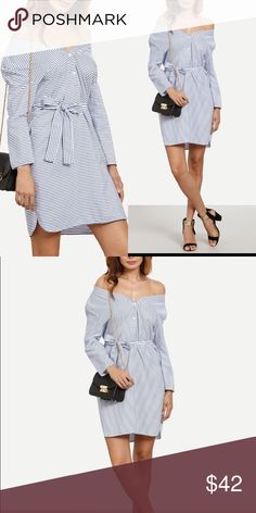 Summer SALE! Blue Striped Off Shoulder Dress New with tags. Button up. Comes with belt. Dresses Long Sleeve