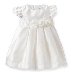 Carter's Girls White Silk Cap Sleeve Silk Dress with Diaper Cover