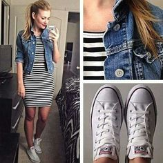 Moda Casual Converse Ootd For 2019 Style Outfits, Mode Outfits, Casual Outfits, Fashion Outfits, Fashion Tips, Casual Shirts, Look Fashion, Runway Fashion, Fashion Models