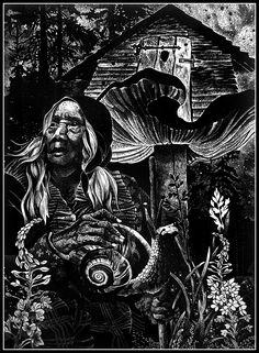Baba Jaga linoryt linocut Slavic mythology