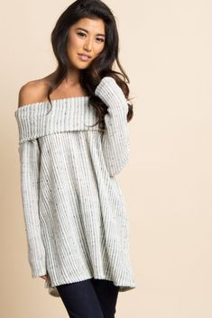 53641299f301 Flirty and fun, this cute sweater is a knit essential! Its trendy off  shoulder