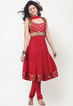 485957eff0 Sleeveless Empire Waist Embellished Antique Gold Trim Red Sareez Indian  Dress Set Moda Étnica