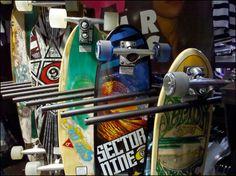 Skateboards On End