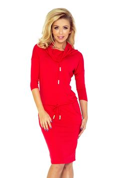 Numoco Sports dress with binding - Burgundy color Latest Fashion Trends, Trendy Fashion, Fashion News, Day Dresses, Dresses For Work, Summer Dresses, Crimson Dress, Red Turtleneck, Pants For Women