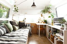 The daybed cushion in the main living area of the Airstream was a prized find from Anthropologie. The matching patterned pillows are purely by fortunate coincidence, and were found separately at Target.