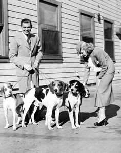 Jean Harlow with Clark Gable and his dogs.