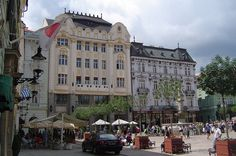 Bratislava: Old Town Hall Square. Japanese and Greek embassies on the left.