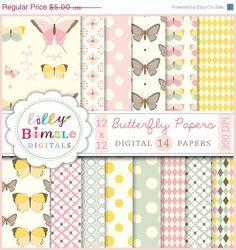 50% off Butterfly Garden digital papers in pastel colors Download Scrapbook paper butterflies Instant Download