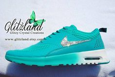 Size 9.5 - Ships In 2 Bus Days!!  Blinged Turbo Green Women's Nike Air Max Thea