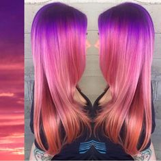 A Tropical Ocean Sunset inspired this beautiful hair color design by Masey Cheveux. Color Melt Hair Painting Pastel hair color design