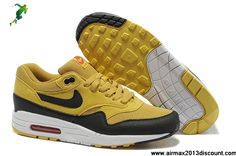 the best attitude bb54d 20421 2013 Mens Nike Air Max 1 Canyon Gold Sail University Red Black Shoes The  Most Flexible
