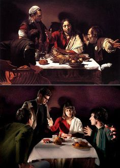 "infonetorg: Photo Remake of Famous Paintings ""Supper at Emmaus"" by Caravaggio"