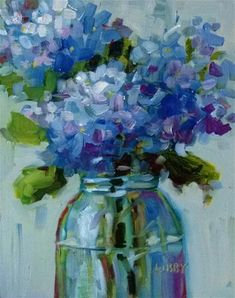 """Daily Paintworks - """"Party of Blue"""" - Original Fine Art for Sale - © Libby Anderson"""
