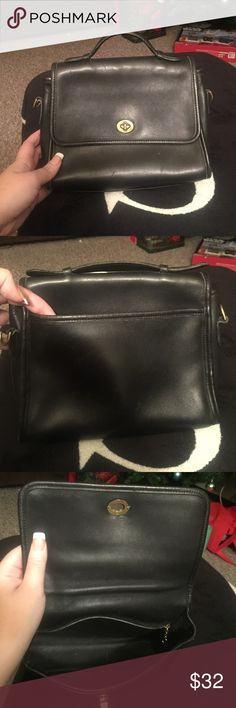 Vintage Coach Beautiful black leather handbag with gold hardware. It is missing cross body strap Coach Bags