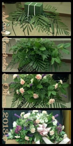 DIY Casket Spray Soak 2 Oasis Foams and stack them on top of each other in a . - DIY Casket Spray Soak 2 Oasis Foams and stack them on top of each other in a Casket Saddle. Casket Flowers, Grave Flowers, Cemetery Flowers, Church Flowers, Funeral Flowers, Diy Flowers, Arte Floral, Deco Floral, Floral Foam