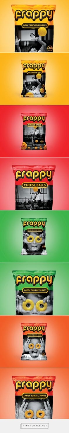 Frappy via Packaging of the World by Lemon Yellow, India curated by Packaging Diva PD. Approached the packaging design with playful combination of bright colours with black and white photography. Images are in black and white while the product itself displayed in colour.