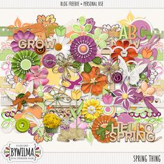 Quality DigiScrap Freebies: Spring Thing full kit freebie from DigiDesigned ByWilma Digital Scrapbooking Freebies, Scrapbook Embellishments, Hello Spring, Free Printables, Diys, Card Making, Clip Art, Crafty, Paper