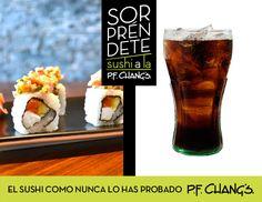 Sorpréndete con los sabores de nuestro rollo DYNASTY y su cubierta con tártara de salmón, acompañado de un refrescante trago de Coca-Cola ¡Deliciosa combinación! #Sushi #PFChangs
