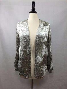 NEW CHICO'S $169 VELVET EMBELLISHED JACKET Metallic Seagull Womens Cardigan NWT #Chicos #Jacket #EveningOccasion