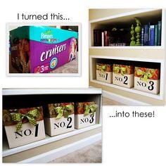 Empty diaper box into decorative storage box. Genius!