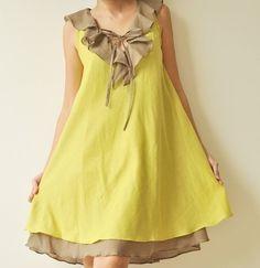 Verkauf 50 % Twist... Grün braun Baumwolle Kleid