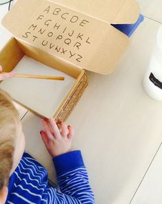 CREATE: Letters in Flour Autism Teaching, Easy Crafts For Kids, Crafts To Do, Monkeys, Letters, Create, Box, Rompers