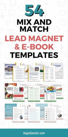 Get ready to amplify your email list with these 54 mix and match lead magnet and e-book templates. They're professionally designed to help you create a custom, drool-worthy lead magnet in minutes. #marketingtools #listgrowth #leadmagnet Email Marketing Lists, Content Marketing Strategy, Social Media Marketing, Affiliate Marketing, Pinterest Design, Lead Magnet, Email List, Lead Generation, Blogging For Beginners
