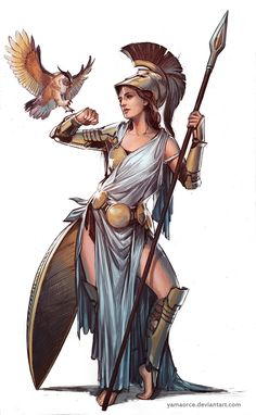 Athena by YamaOrce female god godess archer hunter huntress warrior soldier fighter gladiator armor clothes clothing fashion player character npc Create your own roleplaying game material w/ RPG Bard: www.rpgbard.com Writing inspiration for Dungeons a