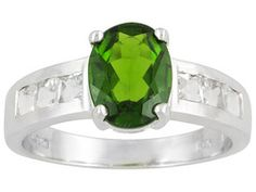 2.54ctw Oval Russian Chrome Diopside And Square White Topaz Sterling Silver Ring Erv $121.00