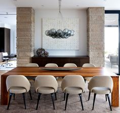 Elegant Modern House In West Vancouver Canada Dining Room Chairs Lighting