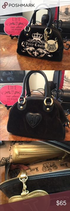 JUICY COUTURE velvet bag This is such a delightfully cute bag.  Clean interior and exterior with no fading (as I've seen in other bags)... in like new condition and the perfect companion to casual or dressy attire. Juicy Couture Bags Satchels